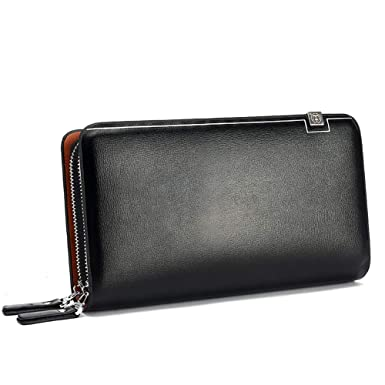 7b992e7117a3 Leather Wallet Men's Clutch Black Fashion Large Capacity Double ...