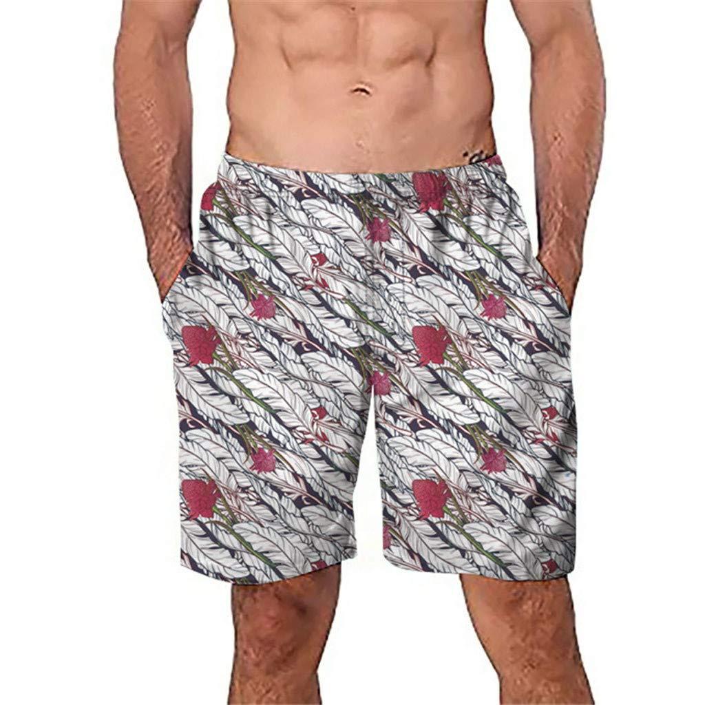 NUWFOR Men Casual 3D Graffiti Printed Beach Work Casual Men Short Trouser Shorts Pants(Z2-Multicolor,US:S Waist26.0-29.9'')