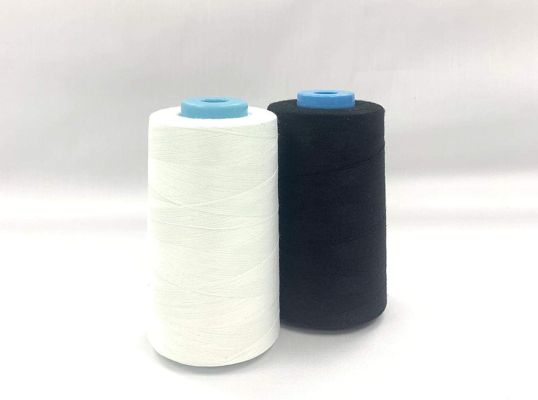Black White Black Polyester Sewing Thread 4 X 5000M Overlocking Thread