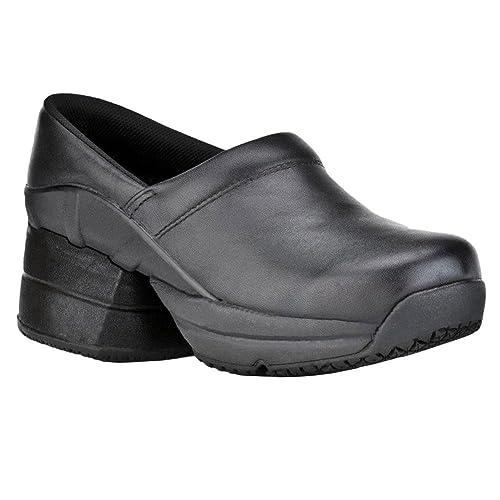 a8b93b95c4b Z-CoiL Pain Relief Footwear Women's Toffler Slip Resistant Enclosed Coil  Black Leather Clog Sandal