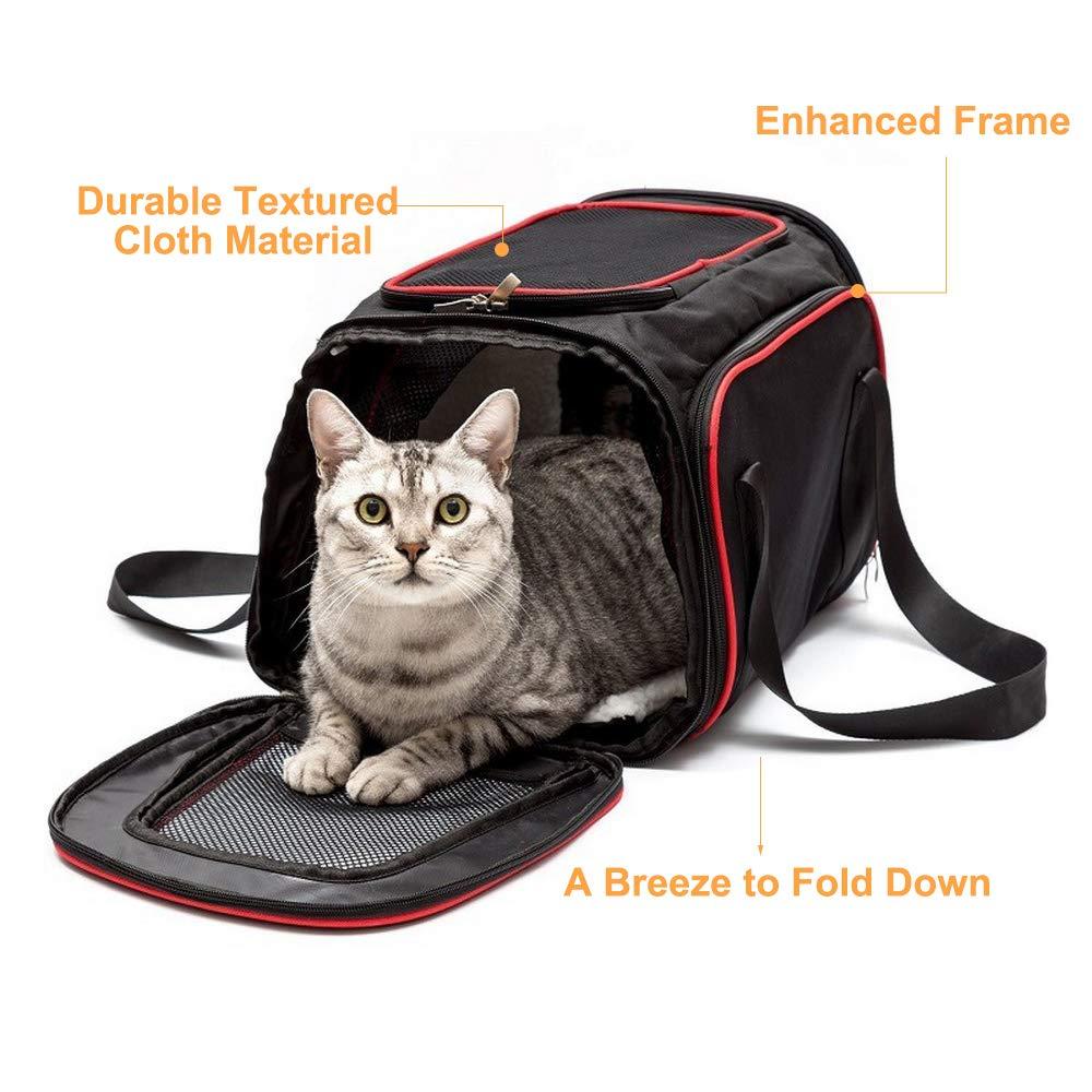 La Gracery - Transportín extensible para mascotas pequeñas para perros, gatos, gatitos y cachorros - 2 lados de expansión plegable Airline aprobado para ...