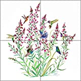 Bird Art Tile Mural Backsplash Ceramic - Hummingbirds in the Air by Susan Libby - Kitchen Shower Bathroom (12'' x 12'' - 6'' tiles)