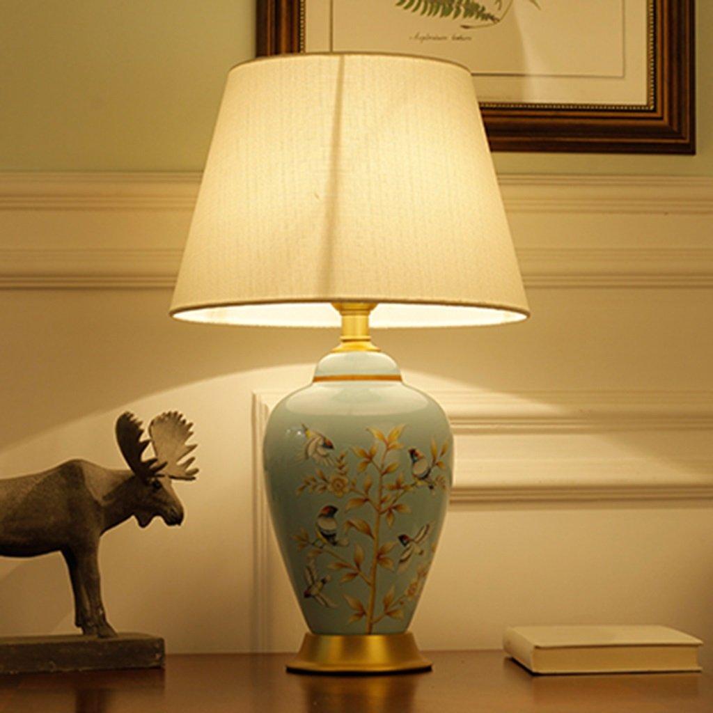 C-J-Xin Lámpara de Mesa de cerámica, Base de Metal, Cuerpo ...