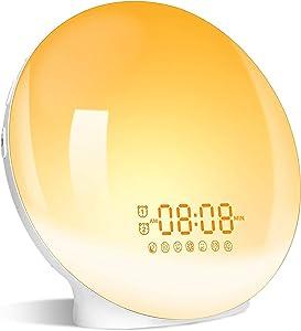 Sunrise Alarm Clock Wake Up Light, Sudroid Kids Night Light Compatible with Alexa & Google Home, 7 Colored Sunrise Simulation and Sunset Fading, Dual Alarm Clock with FM Radio, USB Charge Port,Ideal