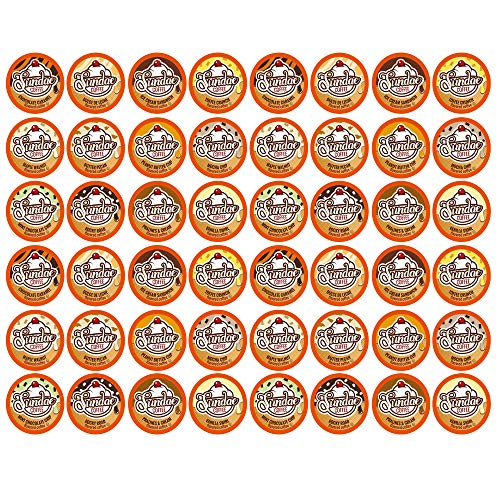 Sundae Ice Cream Flavored Coffee Pods, 2.0 Keurig K-Cup Compatible, Variety Pack, 48 Count