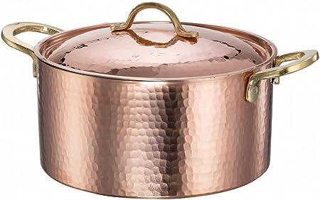 Cacerola de cobre martillado Estaño, con asas de latón