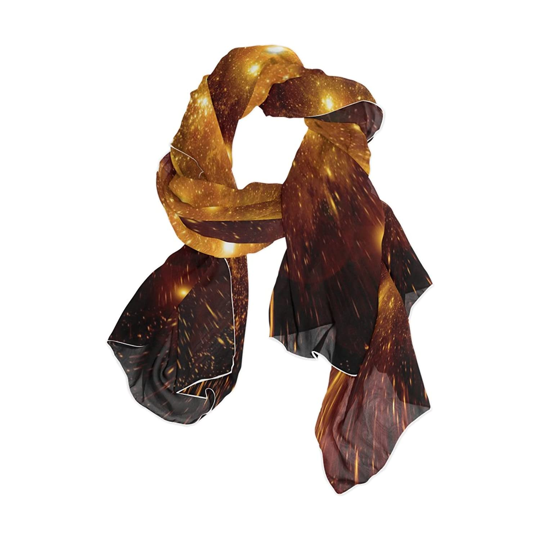JSTEL Women Elegant Fashion Soft Large Silk chiffon Scarf with Star Space Pattern E116