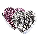 Bestbling - Ambientador para coche, diseño de corazón con cristales brillantes, para colocar en la rejilla de ventilación del coche, Rosado, 42*42mm