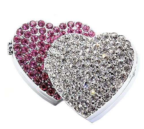 Bestbling Crystal Bling Sparking Car Fragrance Heart Car Diffusser Air Freshener with Vent Clip(Pink)