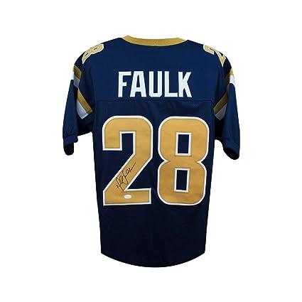 8a8ecb41 Marshall Faulk Autographed St Louis Rams Custom Navy Football Jersey ...