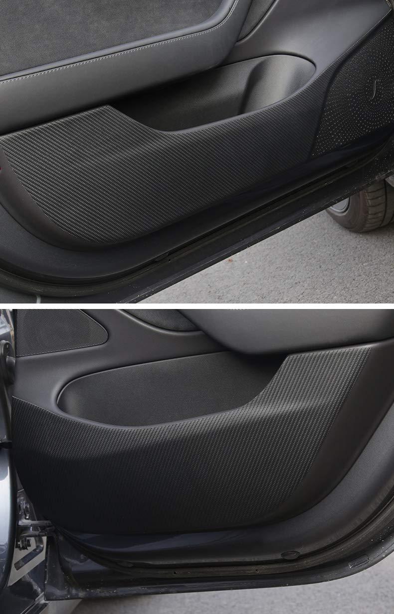 Wisamic Door Anti-Kick Mat for Tesla Model 3 4 PCS//Set Leather Carbon Fiber Protector