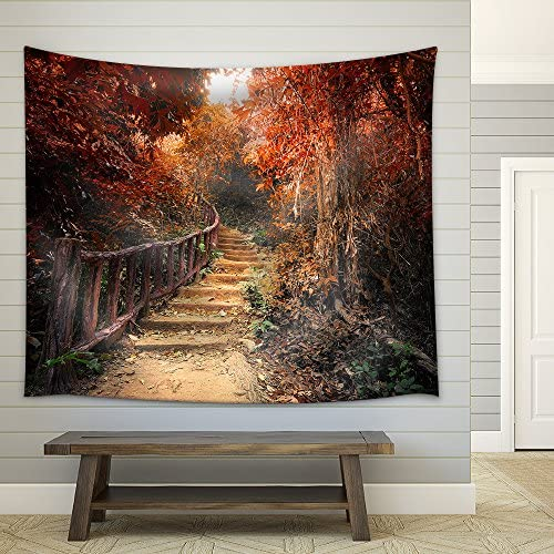 Fantasy Forest in Autumn Surreal Colors Road Path Way Through Dense Trees Fabric Wall