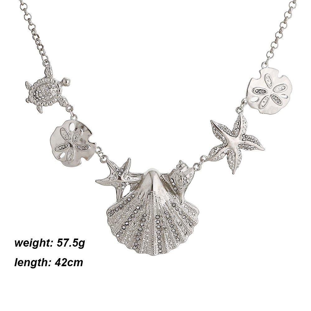Meiligo Fashion Sea Shell Starfish Faux Pearl Collar Bib Statement Chunky Necklace (Silver-1)