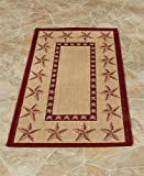 Whimsical Theme Multi Use Indoor or Outdoor Patio Rug Collection (22'' x 43'', Barn Stars)