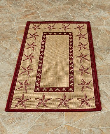 Whimsical Theme Multi Use Indoor or Outdoor Patio Rug Collection (22'' x 43'', Barn Stars) by KNL Store