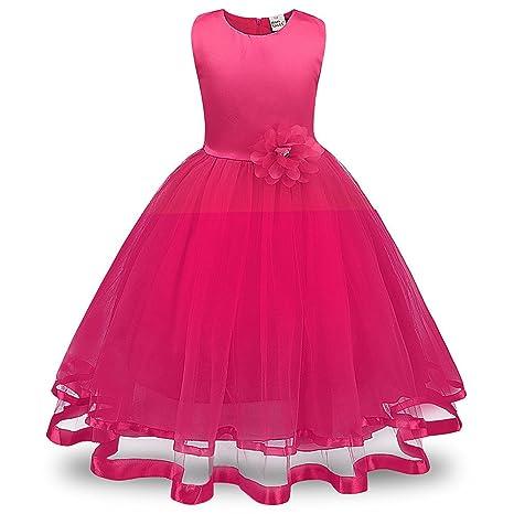Lonshell – Vestido de fiesta estilo princesa para niña (Rosa caliente, 3T)