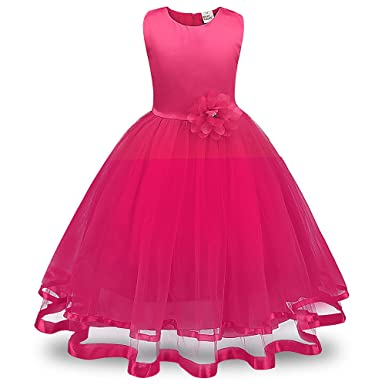 Reasoncool Flower Girl Princess Bridesmaid Pageant Tutu Tulle Gown Party Wedding Dress (Hot Pink,