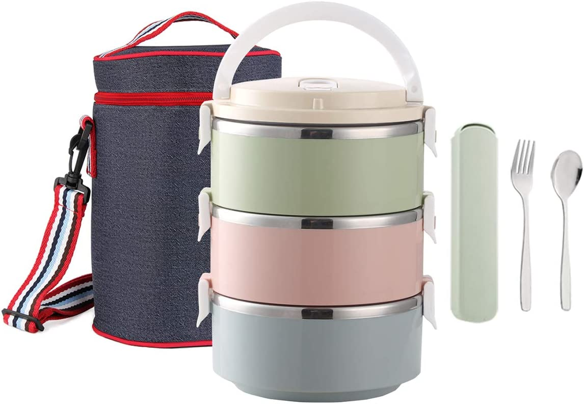 Worthbuy Lunch Box Stainless Steel, Insulated Compartment Lunch Container For Hot Food, Spoon & Fork Set, Lunch Bag For Adults(Bpa-Free, 3-Tier)
