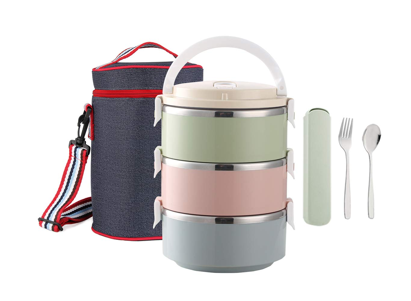 WORTHBUY Bento Lunch Box Stainless Steel Leakproof Stackable Lunch Box with Insulated Bag and Reusable Flatware Set Food Storage Container for Adults(3-Tier)