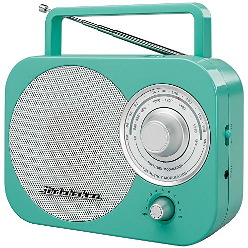 Studebaker SB2000TS Teal/Silver Retro Classic Portable AM/FM Radio with Aux Input