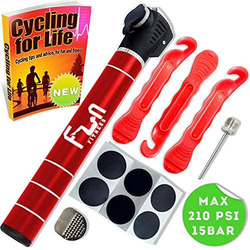 (Micro Bike Pump Puncture Repair Kit & Glueless Bike Tire Patch Included (Red) - Mini Portable Bicycle Pump - Designed For Road, Mountain, BMX Presta & Schrader Valves & Tube & Exercise Ball)