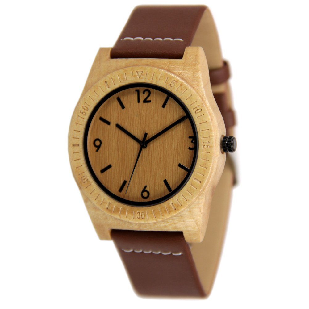 Mens Maple Wood Watch with Black Leather Strap Christmas Gift to Him