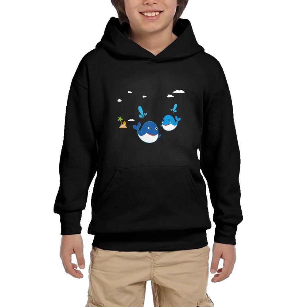 Quliuwuda Youth Cartoon Dolphin Casual Style Running Black Sweater