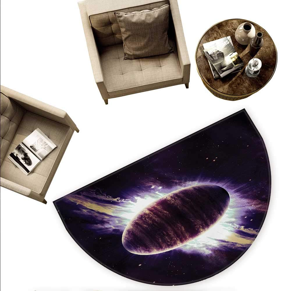 銀河半円ドアマット 宇宙のスパイラル銀河 アンドロメダ星雲 星雲 星雲 星雲 宇宙天文学プリント 半月 ドアマット 高さ55.1インチ x 奥行82.6インチ モーブブラック H 66.9