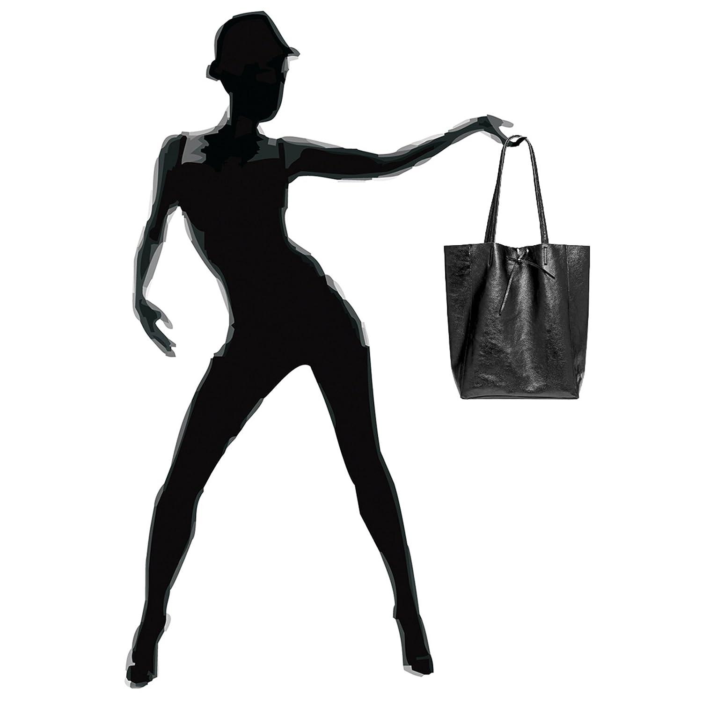 CASPAR TL781 Shopper Grande para Mujer//Bolso de Hombro A4 de Cuero Genuino Metalizado
