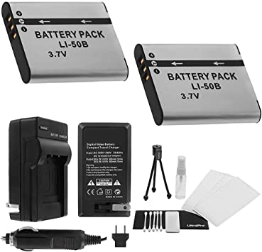 LI-50B Battery 2-Pack Bundle with Rapid Travel Charger and UltraPro Accessory Kit for Select Olympus Cameras Including SH-25MR, SP-720UZ, SP-800UZ, ...