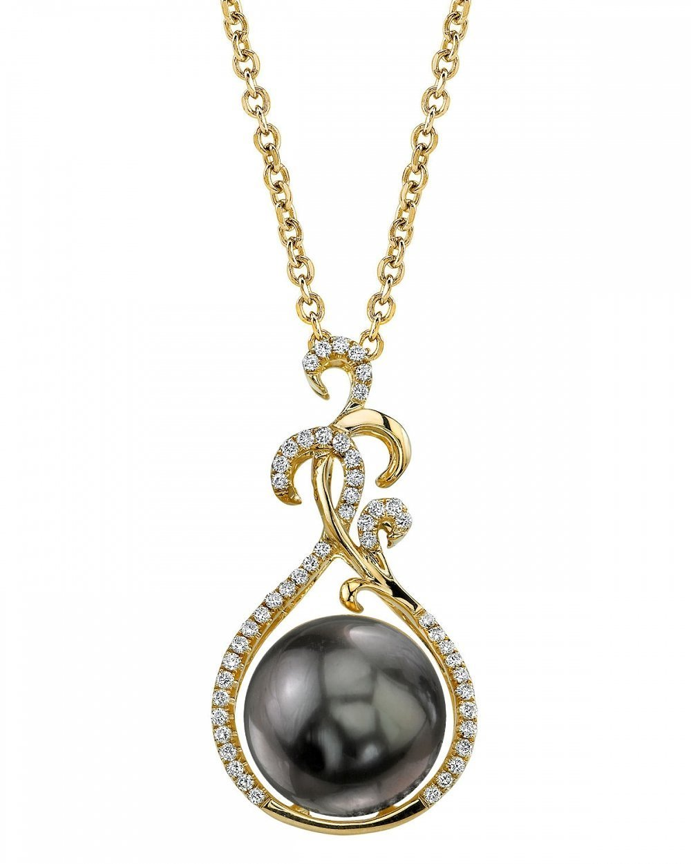 18K Gold Tahitian South Sea Cultured Pearl & Diamond Taylor Pendant Necklace