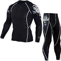 YiJee Uomo Sportivo Abbigliamento Manica Lunga Tight T-Shirt Fitness Jogging Pantaloni Compressione