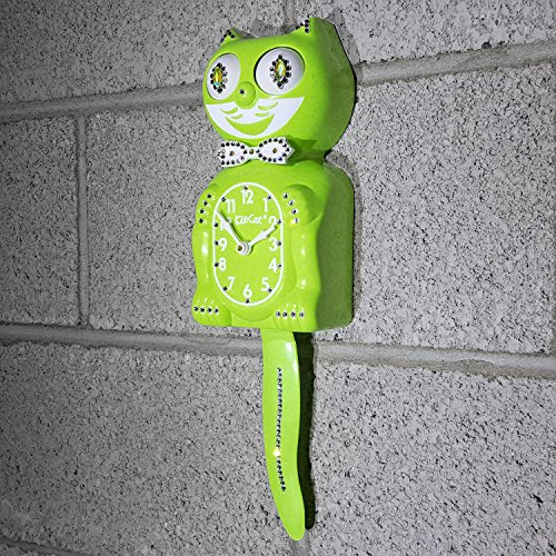 Lime Green CHARTREUSE Official Kit Cat Clock JEWELED Swarovski Crystals