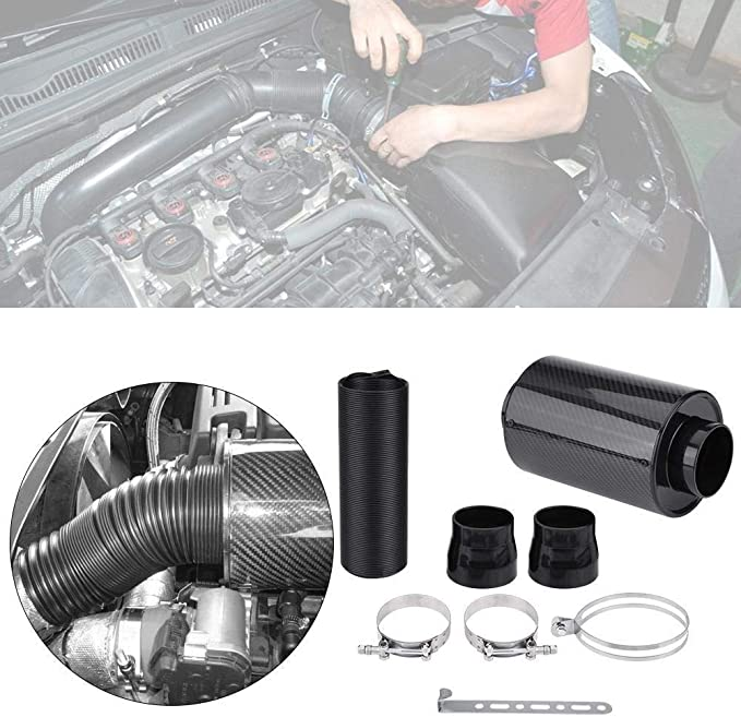 KSTE 76mm 3 Universal-Carbon-Faser-Induktions-Ram Filter Box Cold Air Intake System W//Ansaugschlauch