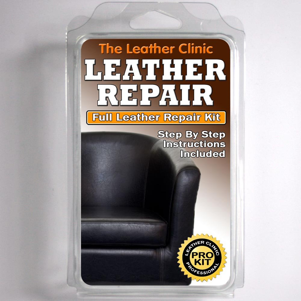 BLACK Leather Sofa U0026 Chair Repair Kit For Tears Holes Scuffs With Colour Dye