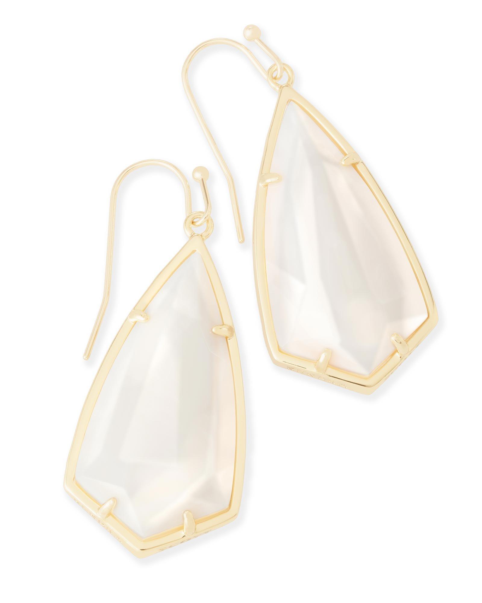 Kendra Scott Carla Drop Earrings In White Pearl