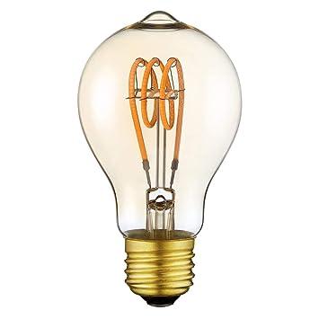 Lámpara Regulable Decorativa Bombilla LED Vintage Edison A19 Bombilla LED Flexlible con Filamentos, E27 Base