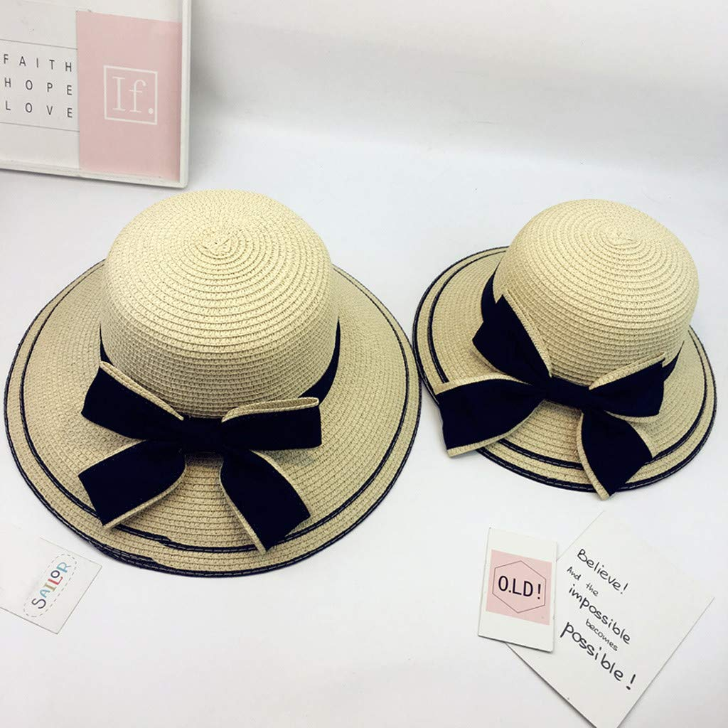 0315125494fa3 Amazon.com  Girls Parent-Child Hat Mother and Daughter Travel Sun  Protection Sun Hat Visor Straw Hat Beach Cap Adult  Clothing