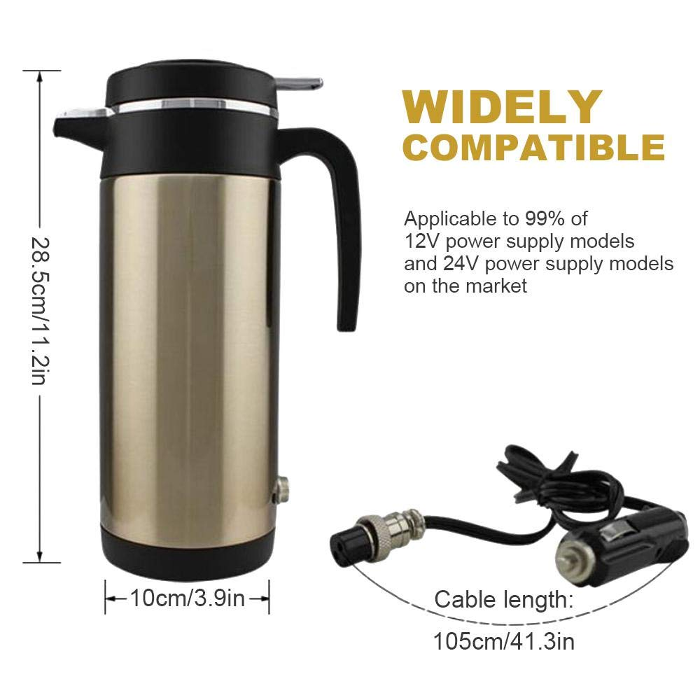Womdee Car Electric Kettle, DC12V 24V Stainless Steel Car Electric Heating Mug Drinking Cup Travel Kettle Electric Kettle Pot Heated Water Cup Quick Heated for Car 1200ML Capacity