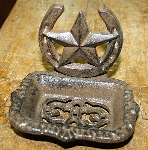 Dish Cowboy Soap (Cast Iron Western Soap Dish Country Cowboy Home Accent BROWN Horseshoe Star by OutletBestSelling)