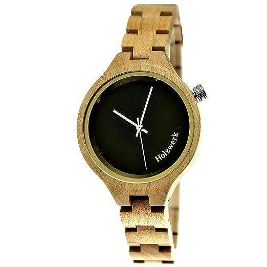 Hecha a mano de madera de Alemania® - Reloj de mujer con certificado de madera natural Reloj Negro Oro Madera Reloj de pulsera analógico clásico reloj de ...