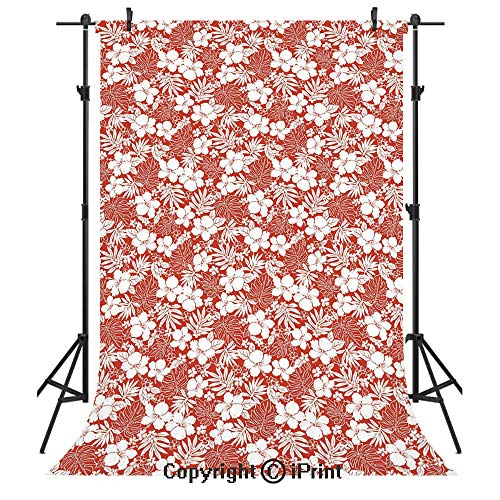 - Luau Photography Backdrops,Hawaiian Hibiscus Florets Bouquet Summer Petals Exotic Beauty Wildflowers Artsy Print Decorative,Birthday Party Seamless Photo Studio Booth Background Banner 3x5ft,Red White