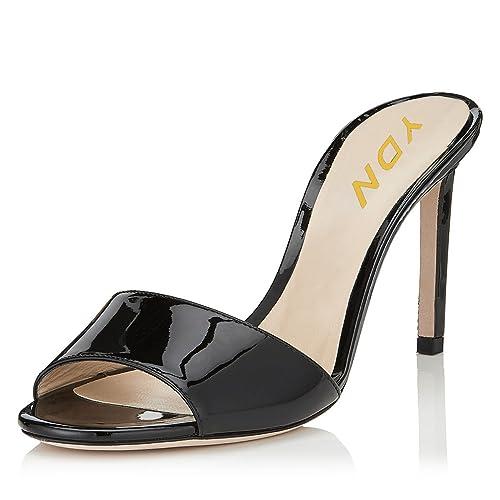 88650cbead Amazon.com | YDN Women Comfy Kitten Low Heel Mules Slip on Clog Sandals  Open Toe Dress Pumps Slide Shoes | Shoes