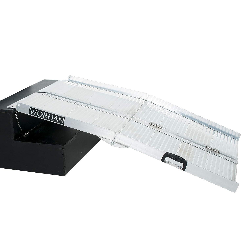 WORHAN® 1.83m Rampa Plegable Carga Silla de Ruedas Discapacitado Movilidad Aluminio Anodizado 183cm R6 WORHAN®