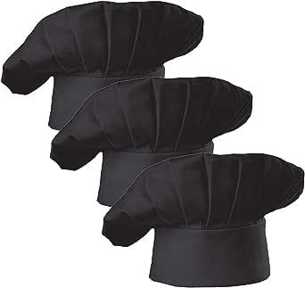 Hyzrz Set of 3 Pack Adult Chef Hat Adult Adjustable Elastic Baker Kitchen Cooking Chef Cap 3 Pieces
