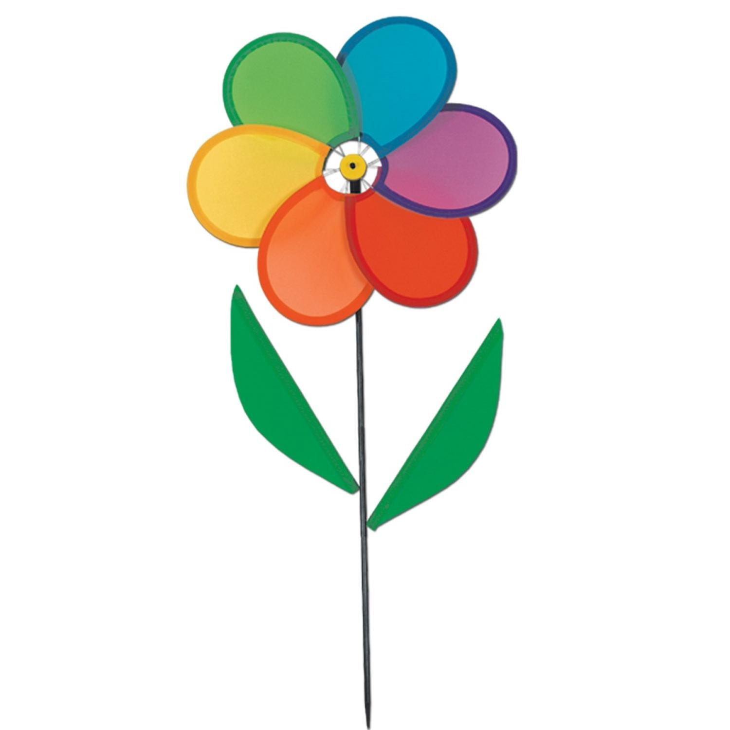 Pack of 6 Multi-Colored Power-Flower Wind-Wheel Yard Decorations 17''