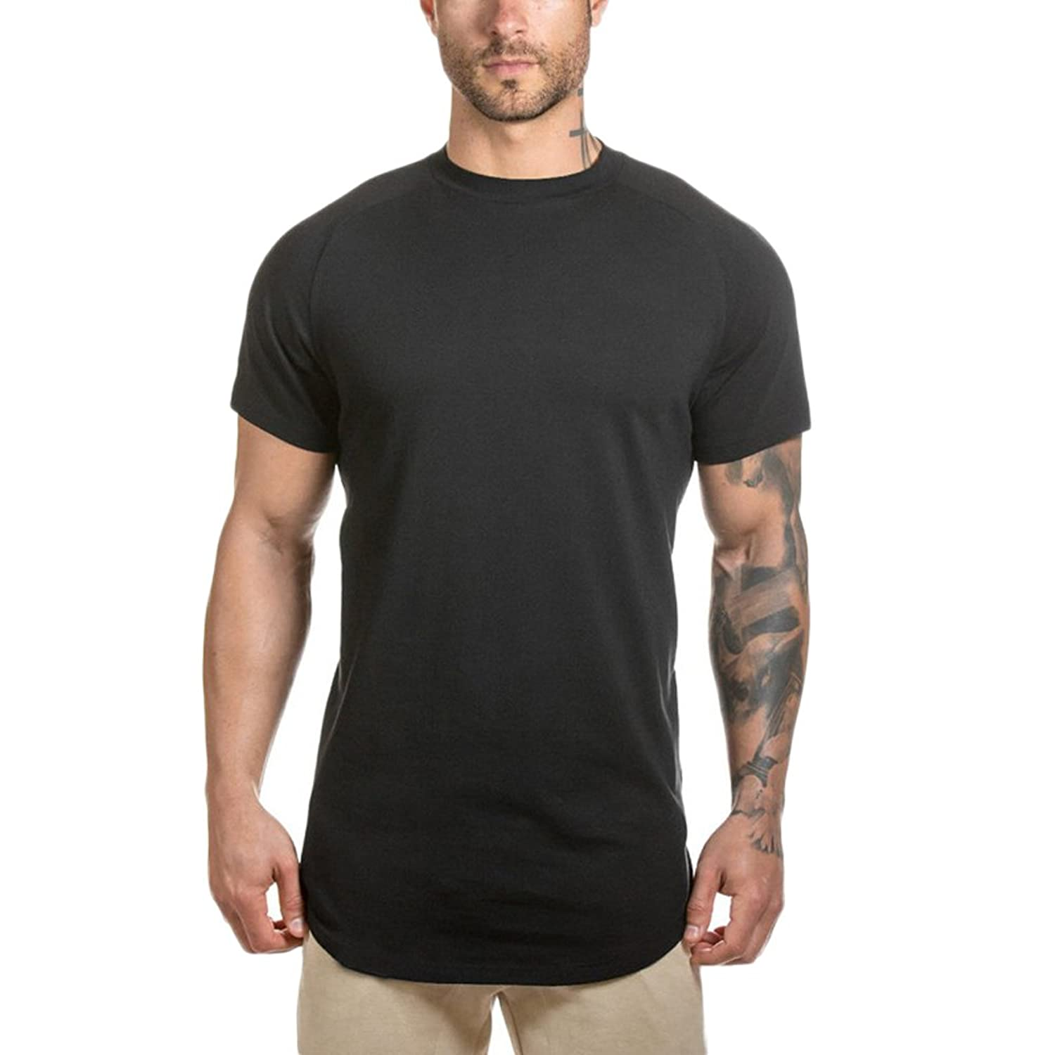 533f1350 short sleeve t-shirt with fashion stylish design,complete with curved  hemline,classcial crewneck,side split,longling elong length tshirt,easy  match with ...