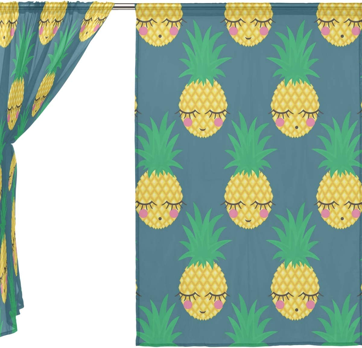 Vantaso Sheer Curtains 84 inch Long Cute Pineapple Emoji for Kids Girls Bedroom Living Room Window Decorative 2 Panels