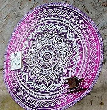 rawyalcrafts roundie de plage ronde ombre Mandala indien Tapisserie hippie  Boho coton Gypsy Rond Tapis de 02ee2921b4d