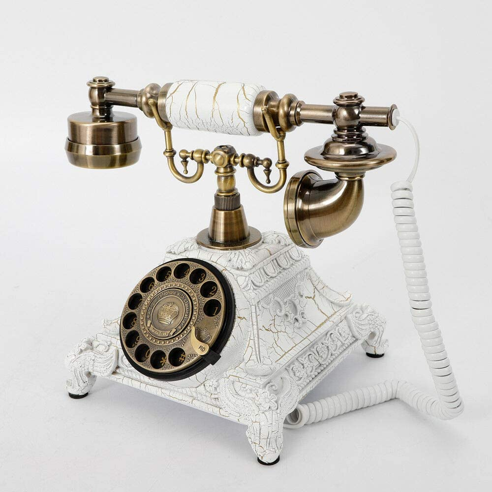 Vintage Antique Style Telephone, Landline Retro Rotary Dialing Telephone, Old School Retro Decor Bell Ring Phone for Home Office Hotel Use Old Fashioned Dial Phone